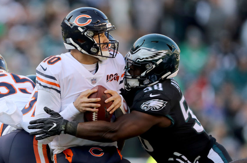 PHILADELPHIA, PENNSYLVANIA - NOVEMBER 03: Mitchell Trubisky #10 of the Chicago Bears is sacked by Genard Avery #58 of the Philadelphia Eagles in the second quarter at Lincoln Financial Field on November 03, 2019 in Philadelphia, Pennsylvania. (Photo by Elsa/Getty Images)