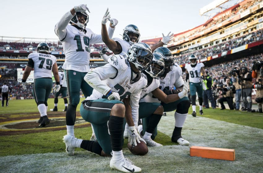 LANDOVER, MD - DECEMBER 15: Greg Ward #84 of the Philadelphia Eagles celebrates with teammates after scoring the game-winning touchdown against the Washington Redskins during the second half at FedExField on December 15, 2019 in Landover, Maryland. (Photo by Scott Taetsch/Getty Images)
