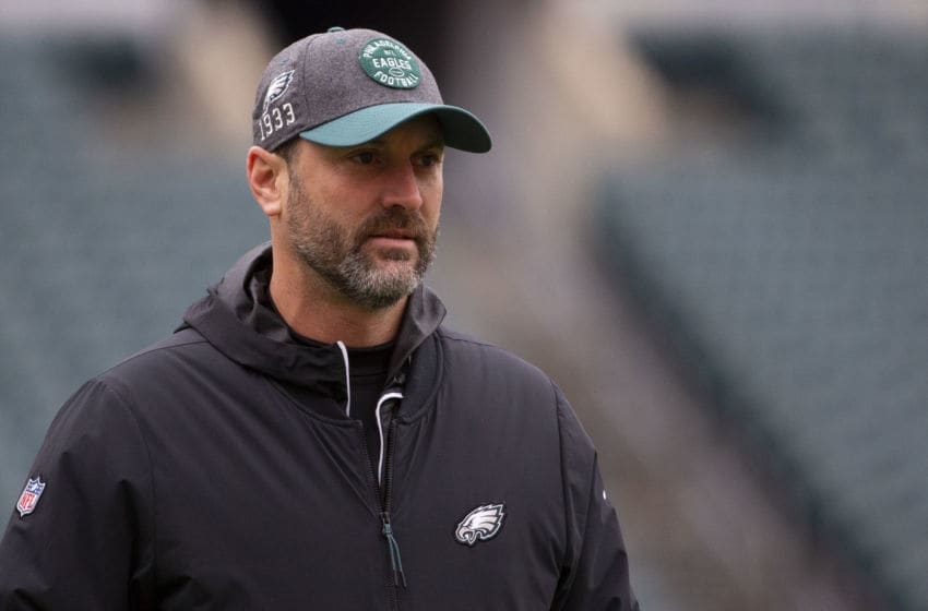 PHILADELPHIA, PA - NOVEMBER 24: Offensive coordinator Mike Groh of the Philadelphia Eagles looks on prior to the game against the Seattle Seahawks at Lincoln Financial Field on November 24, 2019 in Philadelphia, Pennsylvania. (Photo by Mitchell Leff/Getty Images)
