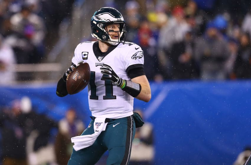 EAST RUTHERFORD, NEW JERSEY - DECEMBER 29: (NEW YORK DAILIES OUT) Carson Wentz #11 of the Philadelphia Eagles in action against the New York Giants at MetLife Stadium on December 29, 2019 in East Rutherford, New Jersey. Philadelphia Eagles defeated the New York Giants 34-17. (Photo by Mike Stobe/Getty Images)