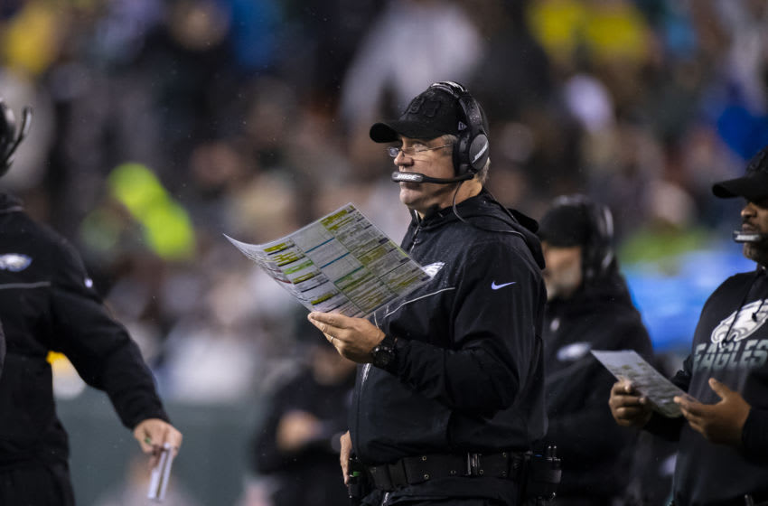 PHILADELPHIA, PA - DECEMBER 09: Head coach Doug Pederson of the Philadelphia Eagles watches game action during the third quarter against the New York Giants at Lincoln Financial Field on December 9, 2019 in Philadelphia, Pennsylvania. Philadelphia defeats New York in overtime 23-17. (Photo by Brett Carlsen/Getty Images)