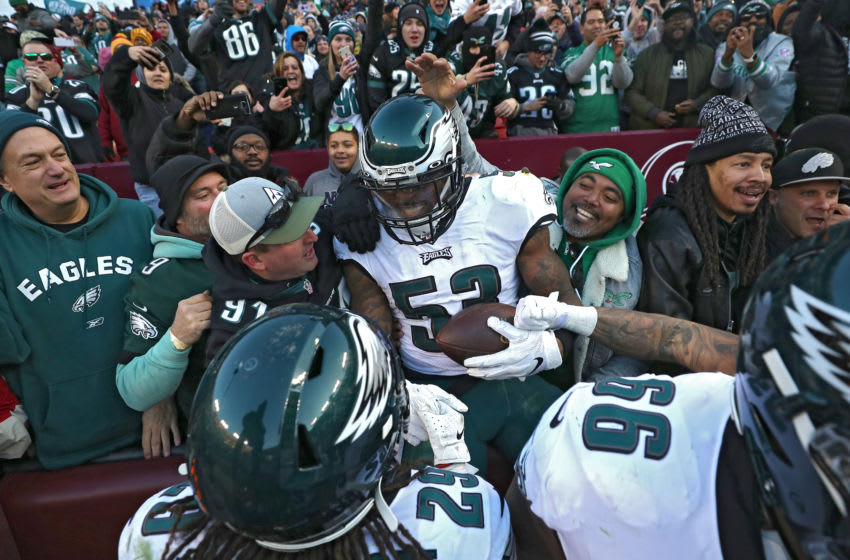 LANDOVER, MARYLAND - DECEMBER 15: Outside linebacker Nigel Bradham #53 of the Philadelphia Eagles celebrates with fans after defeating the Washington Redskins at FedExField on December 15, 2019 in Landover, Maryland. (Photo by Patrick Smith/Getty Images)
