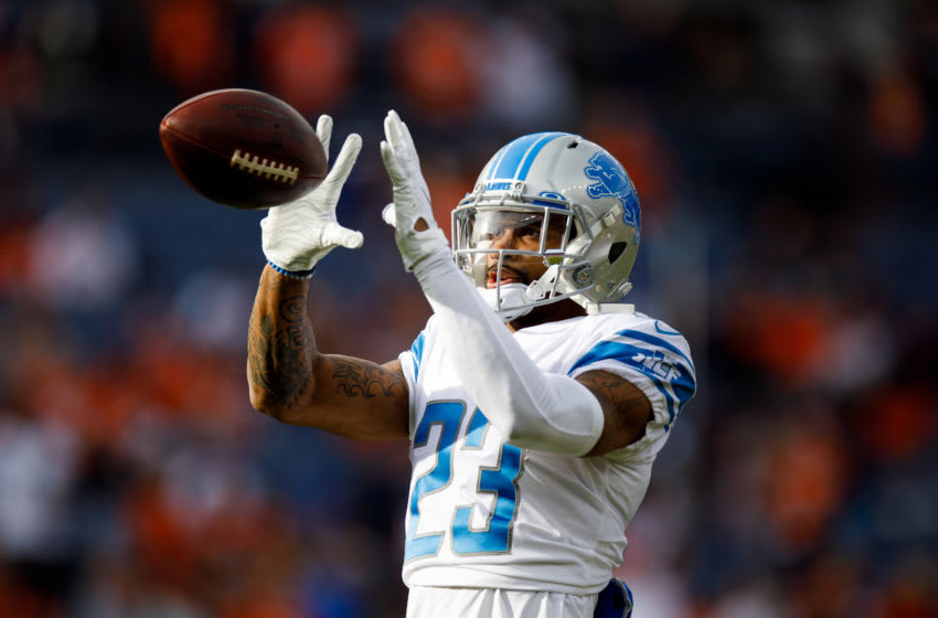 DENVER, CO - DECEMBER 22: Cornerback Darius Slay #23 of the Detroit Lions catches a pass during warm ups before a game against the Denver Broncos at Empower Field at Mile High on December 22, 2019 in Denver, Colorado. The Broncos defeated the Lions 27-17. (Photo by Justin Edmonds/Getty Images)