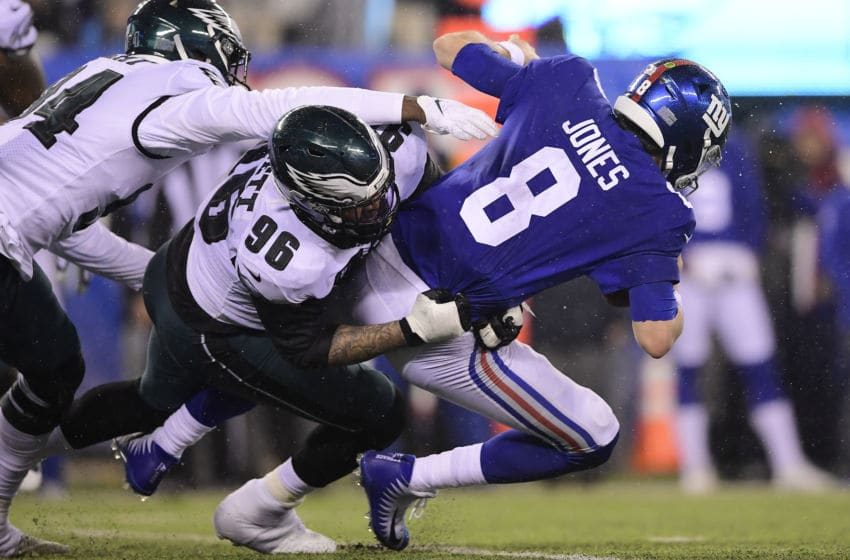 EAST RUTHERFORD, NEW JERSEY - DECEMBER 29: Derek Barnett #96 of the Philadelphia Eagles sacks Daniel Jones #8 of the New York Giants during the second half at MetLife Stadium on December 29, 2019 in East Rutherford, New Jersey. (Photo by Steven Ryan/Getty Images)