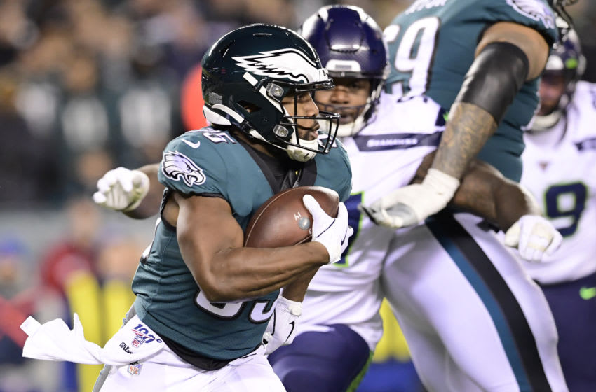 PHILADELPHIA, PENNSYLVANIA - JANUARY 05: Boston Scott #35 of the Philadelphia Eagles runs the ball against the Seattle Seahawks in the NFC Wild Card Playoff game at Lincoln Financial Field on January 05, 2020 in Philadelphia, Pennsylvania. (Photo by Steven Ryan/Getty Images)