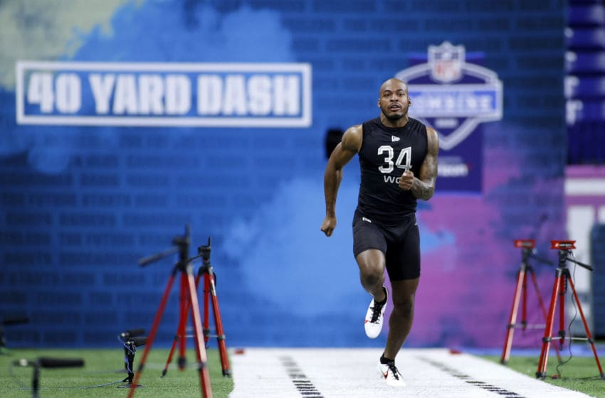 INDIANAPOLIS, IN - FEBRUARY 27: Wide receiver Kalija Lipscomb of Vanderbilt runs the 40-yard dash during the NFL Scouting Combine at Lucas Oil Stadium on February 27, 2020 in Indianapolis, Indiana. (Photo by Joe Robbins/Getty Images)