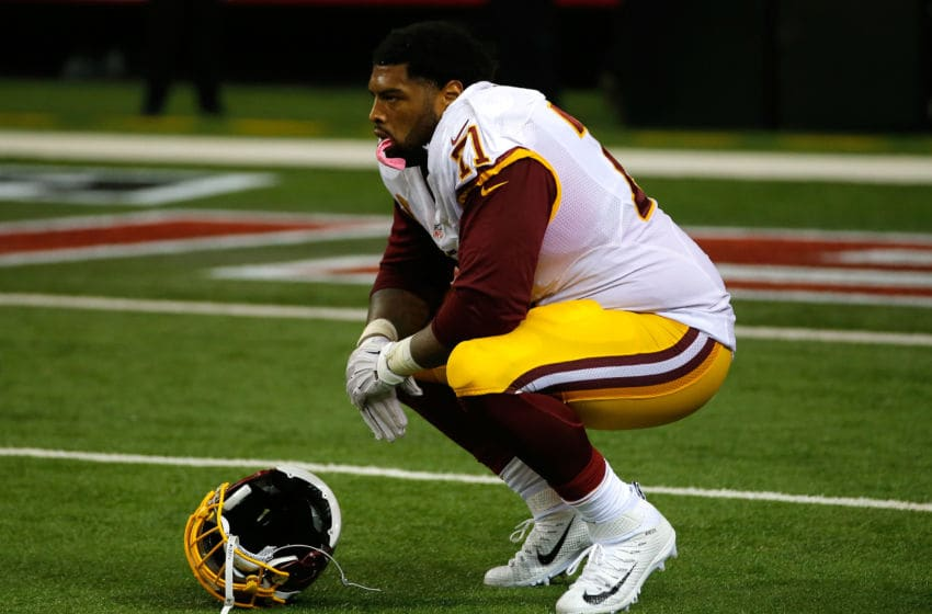 ATLANTA, GA - OCTOBER 11: Trent Williams #71 of the Washington Redskins reacts after Robert Alford #23 of the Atlanta Falcons returned an interception for a touchdown in their 25-19 loss at Georgia Dome on October 11, 2015 in Atlanta, Georgia. (Photo by Kevin C. Cox/Getty Images)