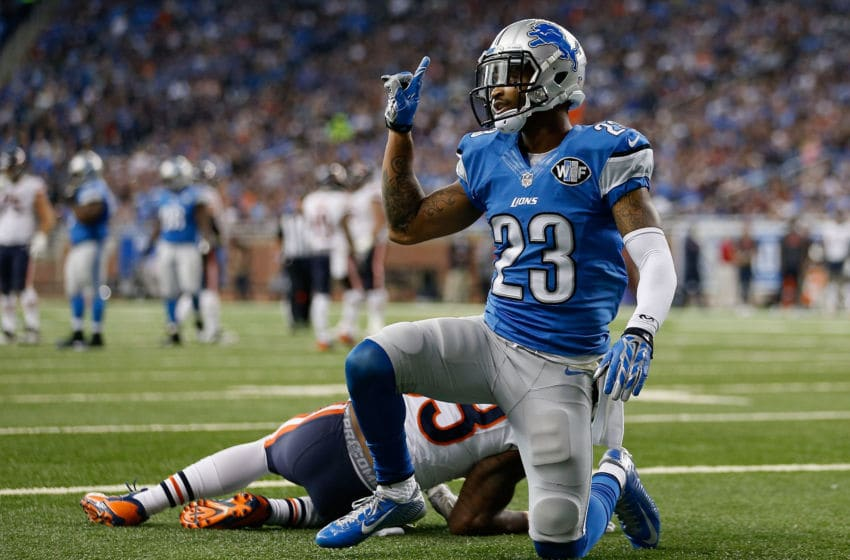 DETROIT, MI - OCTOBER 18: Cornerback Darius Slay #23 of the Detroit Lions reacts after a defensive stop against the Chicago Bears during the fourth quarter of the NFL game at Ford Field on October 18, 2015 in Detroit, Michigan. The Lions defeated the Bears 37-34 in overtime. (Photo by Christian Petersen/Getty Images)