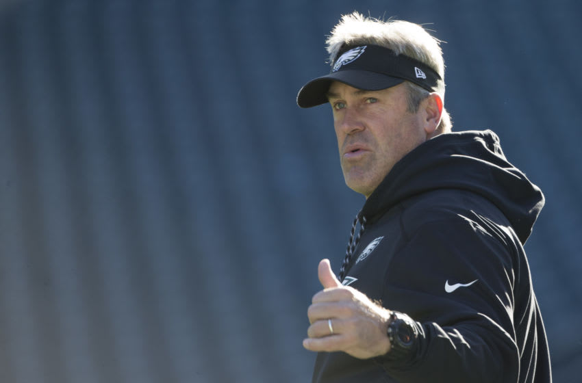 PHILADELPHIA, PA - NOVEMBER 26: Head coach Doug Pederson of the Philadelphia Eagles looks on prior to the game against the Chicago Bears at Lincoln Financial Field on November 26, 2017 in Philadelphia, Pennsylvania. (Photo by Mitchell Leff/Getty Images)