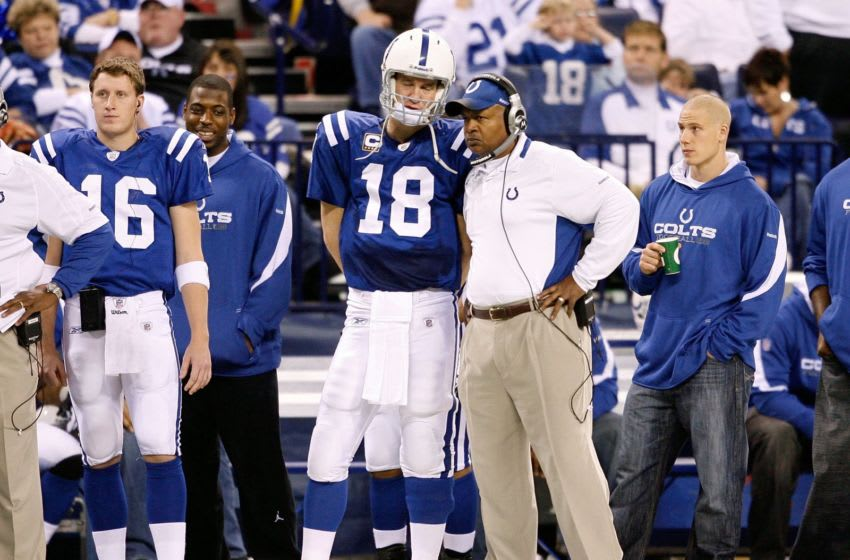INDIANAPOLIS - DECEMBER 27: Peyton Manning #18 of the Indianapolis Colts and Head Coach Jim Caldwell are pictured on the sideline during the NFL game against the New York Jets at Lucas Oil Stadium on December 27, 2009 in Indianapolis, Indiana. Manning and many of the starters were pulled from the game in the second half and the Colts went on to lose their first game of the season 29-15. (Photo by Andy Lyons/Getty Images)