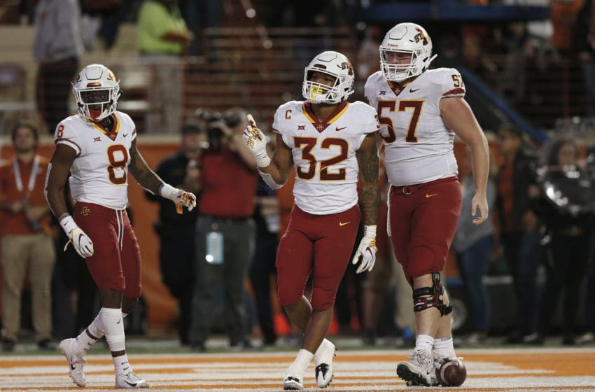AUSTIN, TX - NOVEMBER 17: David Montgomery #32 of the Iowa State Cyclones celebrates after a rushing touchdown in the fourth quarter against the Texas Longhorns at Darrell K Royal-Texas Memorial Stadium on November 17, 2018 in Austin, Texas. (Photo by Tim Warner/Getty Images)