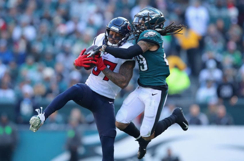 PHILADELPHIA, PA - DECEMBER 23: Wide receiver Demaryius Thomas #87 of the Houston Texans makes a catch against free safety Avonte Maddox #29 of the Philadelphia Eagles during the second quarter at Lincoln Financial Field on December 23, 2018 in Philadelphia, Pennsylvania. (Photo by Brett Carlsen/Getty Images)