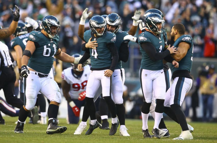 PHILADELPHIA, PA - DECEMBER 23: Jake Elliott #4 of the Philadelphia Eagles celebrates kicking the game winning field goal with Stefen Wisniewski #61, Rick Lovato #45, Cameron Johnston #1, Richard Rodgers #82, and Kamu Grugier-Hill #54 against the Houston Texans at Lincoln Financial Field on December 23, 2018 in Philadelphia, Pennsylvania. The Eagles defeated the Texans 32-30. (Photo by Mitchell Leff/Getty Images)