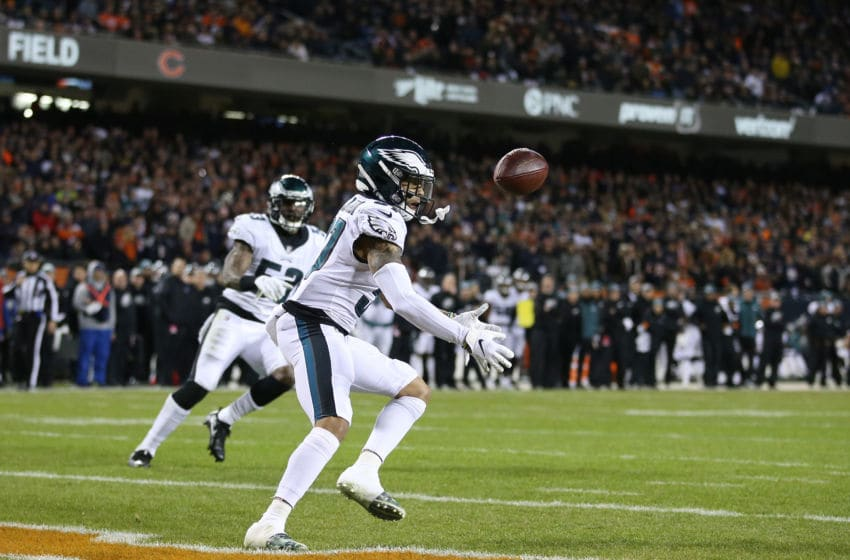 CHICAGO, ILLINOIS - JANUARY 06: Tre Sullivan #37 of the Philadelphia Eagles fails to intercept a pass against the Chicago Bears in the second quarter of the NFC Wild Card Playoff game at Soldier Field on January 06, 2019 in Chicago, Illinois. (Photo by Dylan Buell/Getty Images)