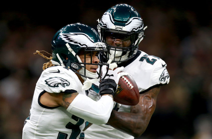 NEW ORLEANS, LOUISIANA - JANUARY 13: Cre'von LeBlanc #34 and Malcolm Jenkins #27 of the Philadelphia Eagles react after an interception during the NFC Divisional Playoff at the Mercedes Benz Superdome on January 13, 2019 in New Orleans, Louisiana. (Photo by Sean Gardner/Getty Images)