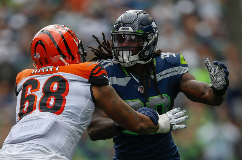 SEATTLE, WA - SEPTEMBER 08: Defensive end Jadeveon Clowney #90 of the Seattle Seahawks in action against Bobby Hart #68 of the Cincinnati Bengals at CenturyLink Field on September 8, 2019 in Seattle, Washington. (Photo by Otto Greule Jr/Getty Images)