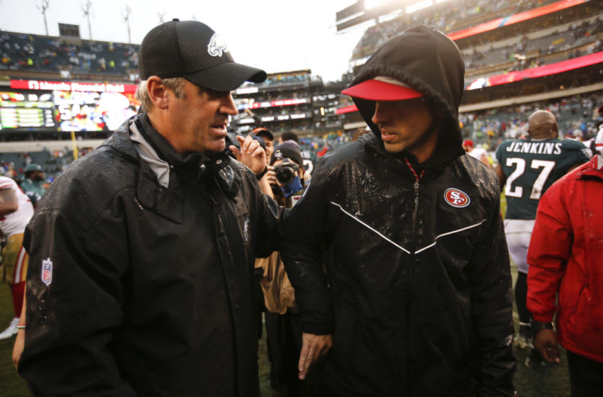 Doug Pederson, Kyle Shanahan (Photo by Michael Zagaris/San Francisco 49ers/Getty Images)