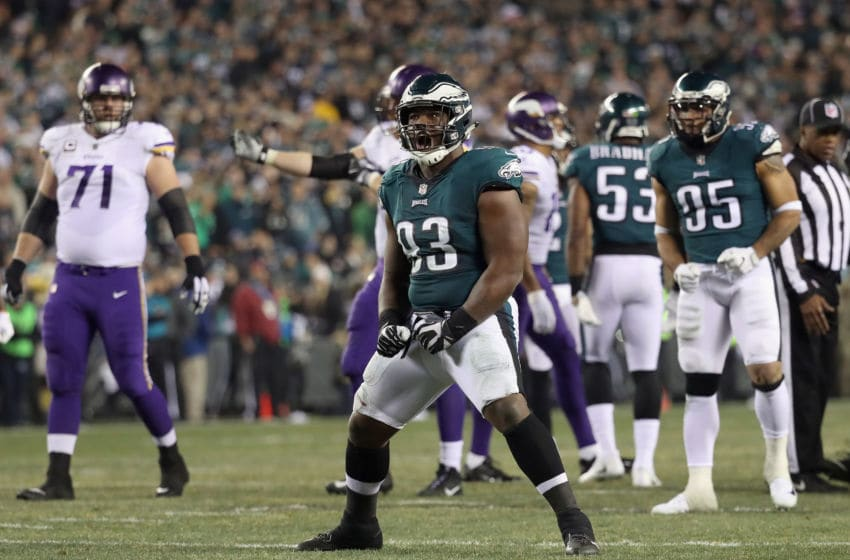 PHILADELPHIA, PA - JANUARY 21: Timmy Jernigan #93 of the Philadelphia Eagles celebrates the play during the second quarter against the Minnesota Vikings in the NFC Championship game at Lincoln Financial Field on January 21, 2018 in Philadelphia, Pennsylvania. (Photo by Rob Carr/Getty Images)