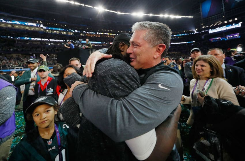 MINNEAPOLIS, MN - FEBRUARY 04: Jim Schwartz defensive coordinator of the Philadelphia Eagles celebrates with LeGarrette Blount #29 after their teams 41-33 victory over the New England Patriots in Super Bowl LII at U.S. Bank Stadium on February 4, 2018 in Minneapolis, Minnesota. The Philadelphia Eagles defeated the New England Patriots 41-33. (Photo by Kevin C. Cox/Getty Images)