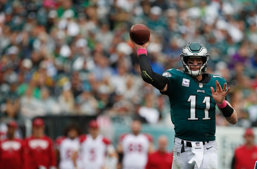 PHILADELPHIA, PA - OCTOBER 08: Quarterback Carson Wentz #11 of the Philadelphia Eagles throws a pass against the Arizona Cardinals during the third quarter at Lincoln Financial Field on October 8, 2017 in Philadelphia, Pennsylvania. (Photo by Rich Schultz/Getty Images)