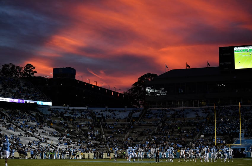 CHAPEL HILL, NC - NOVEMBER 18: A general view as the sun sets during the game between the Western Carolina Catamounts and the North Carolina Tar Heels at Kenan Stadium on November 18, 2017 in Chapel Hill, North Carolina. (Photo by Lance King/Getty Images)
