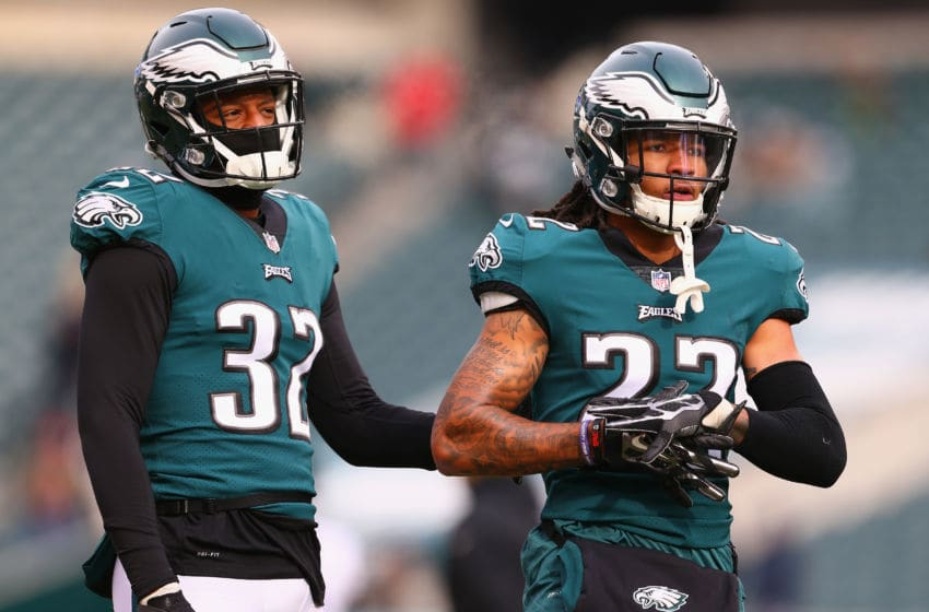 PHILADELPHIA, PA - DECEMBER 31: Cornerback Rasul Douglas #32 and cornerback Sidney Jones #22 of the Philadelphia Eagles looks on during warm ups before playing against the Dallas Cowboys at Lincoln Financial Field on December 31, 2017 in Philadelphia, Pennsylvania. (Photo by Mitchell Leff/Getty Images)