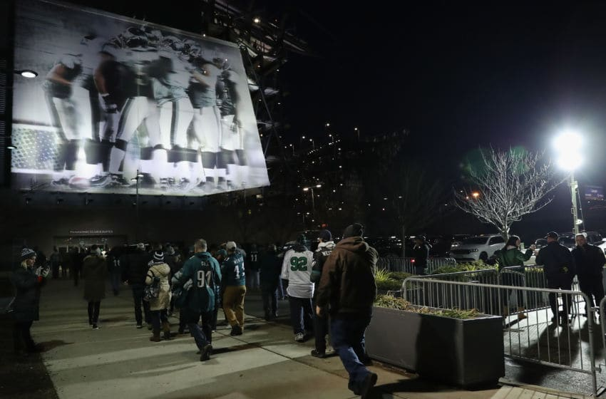 PHILADELPHIA, PA - JANUARY 21: Fans are seen outside the stadium prior to the NFC Championship game at Lincoln Financial Field between the Philadelphia Eagles and the Minnesota Vikings on January 21, 2018 in Philadelphia, Pennsylvania. (Photo by Abbie Parr/Getty Images)