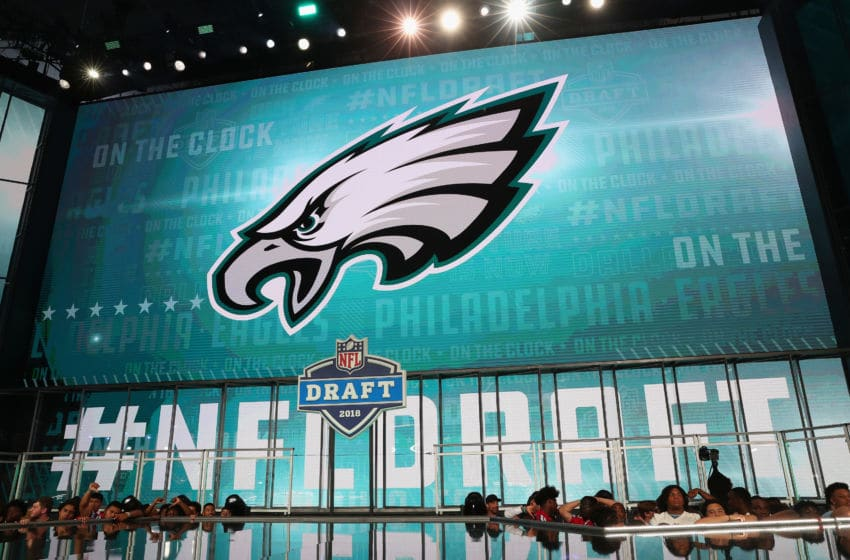 ARLINGTON, TX - APRIL 26: The Philadelphia Eagles logo is seen on a video board during the first round of the 2018 NFL Draft at AT