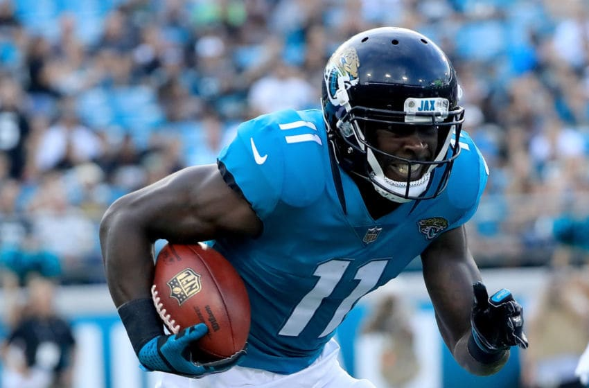 JACKSONVILLE, FL - AUGUST 25: Marqise Lee #11 of the Jacksonville Jaguars runs for yardage during a preseason game at TIAA Bank Field on August 25, 2018 in Jacksonville, Florida. (Photo by Sam Greenwood/Getty Images)