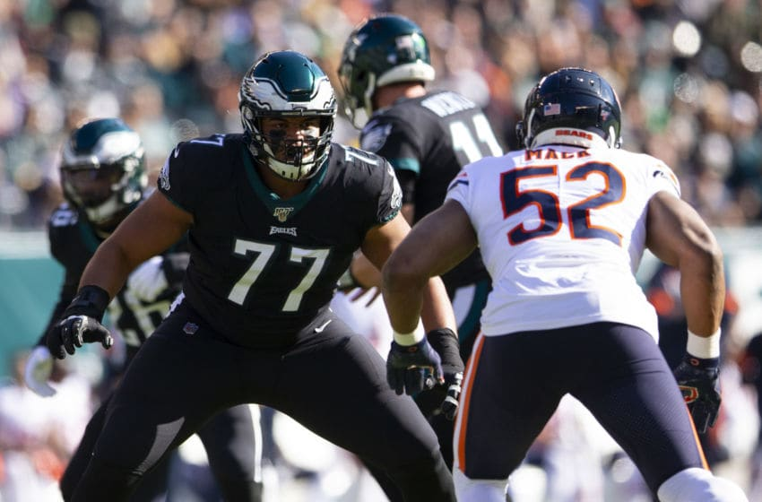 PHILADELPHIA, PA - NOVEMBER 03: Andre Dillard #77 of the Philadelphia Eagles guards Khalil Mack #52 of the Chicago Bears in the first quarter at Lincoln Financial Field on November 3, 2019 in Philadelphia, Pennsylvania. (Photo by Mitchell Leff/Getty Images)