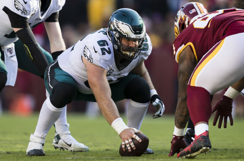 LANDOVER, MD - DECEMBER 15: Jason Kelce #62 of the Philadelphia Eagles prepares to snap the ball to Carson Wentz #11 during the first half of the game against the Washington Redskins at FedExField on December 15, 2019 in Landover, Maryland. (Photo by Scott Taetsch/Getty Images)