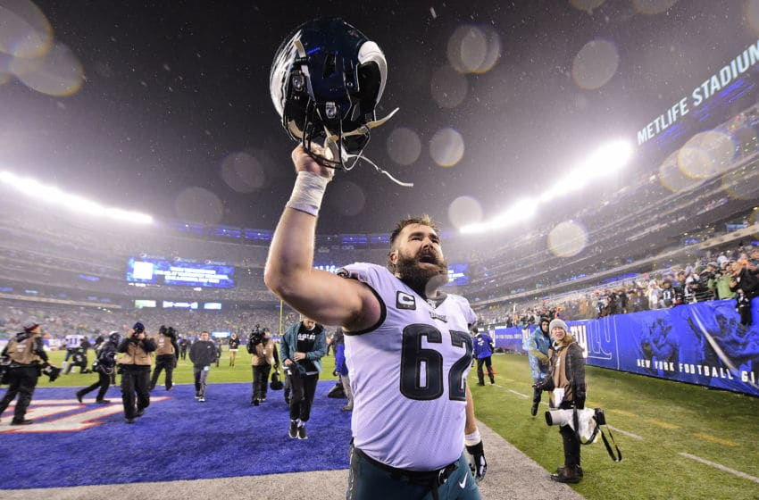 EAST RUTHERFORD, NEW JERSEY - DECEMBER 29: Jason Kelce #62 of the Philadelphia Eagles celebrates his teams win over the New York Giants at MetLife Stadium on December 29, 2019 in East Rutherford, New Jersey. (Photo by Steven Ryan/Getty Images)
