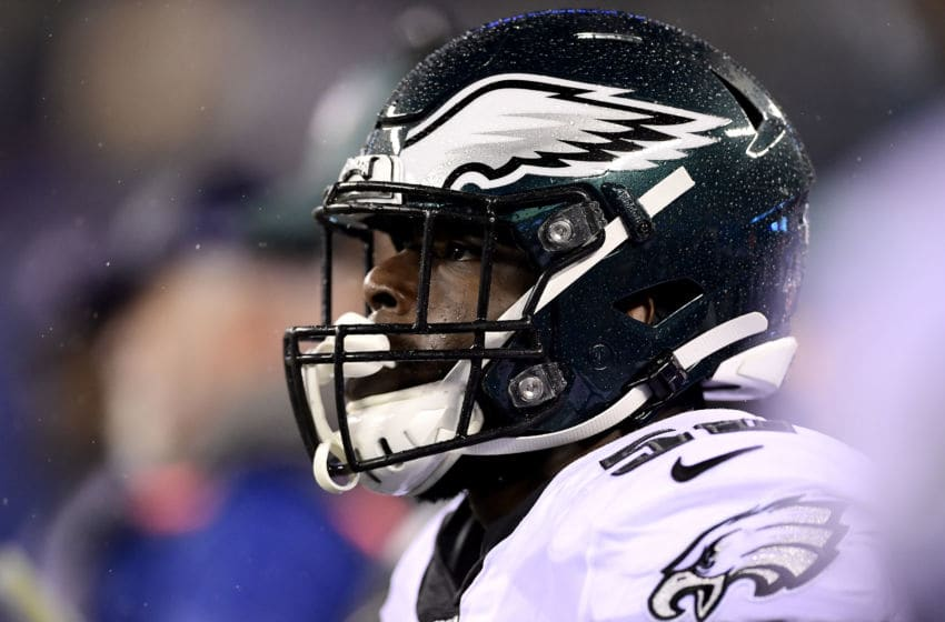 EAST RUTHERFORD, NEW JERSEY - DECEMBER 29: Genard Avery #58 of the Philadelphia Eagles looks on against the New York Giants at MetLife Stadium on December 29, 2019 in East Rutherford, New Jersey. (Photo by Steven Ryan/Getty Images)