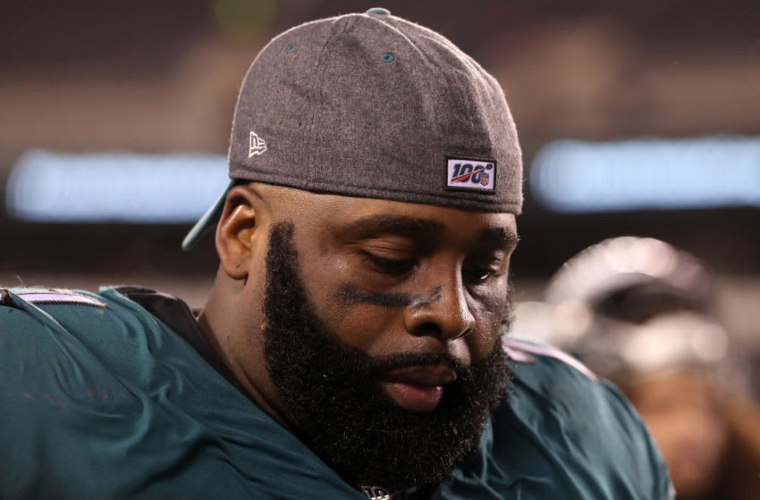 PHILADELPHIA, PENNSYLVANIA - JANUARY 05: Jason Peters #71 of the Philadelphia Eagles walks off the field after a 17-9 loss to the Seattle Seahawks in the NFC Wild Card Playoff game at Lincoln Financial Field on January 05, 2020 in Philadelphia, Pennsylvania. (Photo by Mitchell Leff/Getty Images)