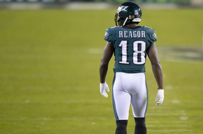 PHILADELPHIA, PA - NOVEMBER 01: Jalen Reagor #18 of the Philadelphia Eagles looks on against the Dallas Cowboys at Lincoln Financial Field on November 1, 2020 in Philadelphia, Pennsylvania. (Photo by Mitchell Leff/Getty Images)