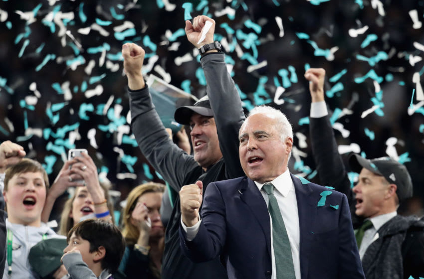 MINNEAPOLIS, MN - FEBRUARY 04: Jeffrey Lurie owner of the Philadelphia Eagles and head coach Doug Pederson celebrate their teams 41-33 victory over the New England Patriots in Super Bowl LII at U.S. Bank Stadium on February 4, 2018 in Minneapolis, Minnesota. The Philadelphia Eagles defeated the New England Patriots 41-33. (Photo by Rob Carr/Getty Images)