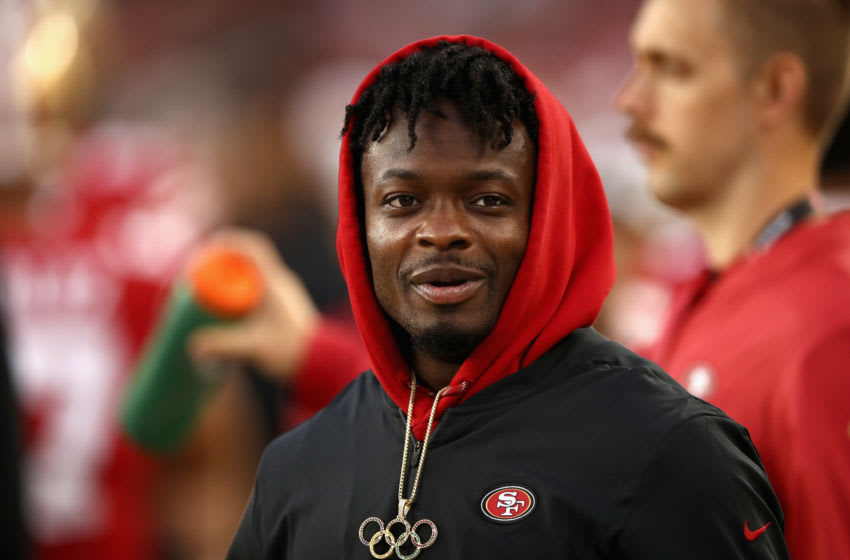 SANTA CLARA, CA - AUGUST 30: Marquise Goodwin #11 of the San Francisco 49ers stands on the sidelines during their preseason game against the Los Angeles Chargers at Levi's Stadium on August 30, 2018 in Santa Clara, California. (Photo by Ezra Shaw/Getty Images)