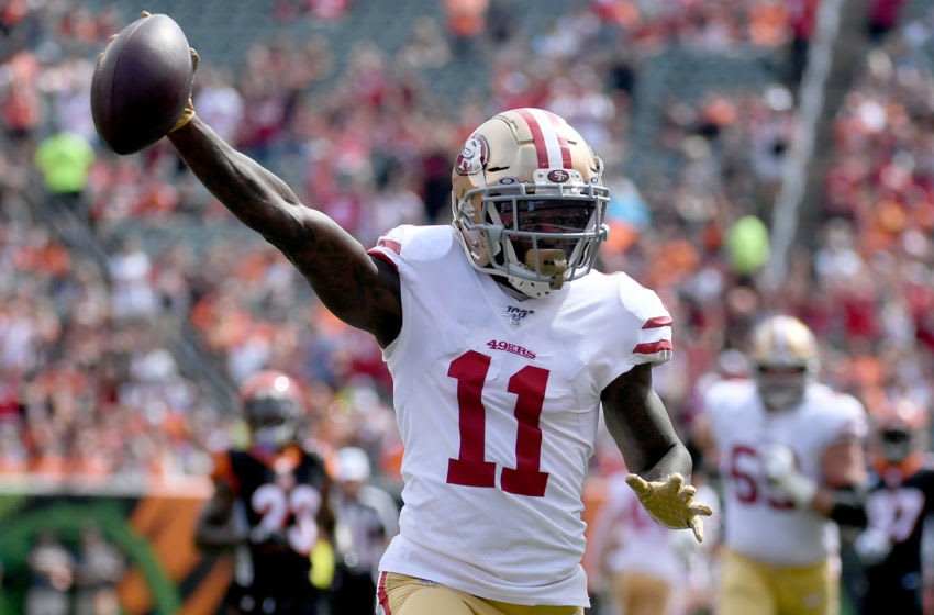 CINCINNATI, OH - SEPTEMBER 15: Marquise Goodwin #11 of the San Francisco 49ers celebrates as he makes a catch for a touchdown during the first quarter of the game against the Cincinnati Bengals at Paul Brown Stadium on September 15, 2019 in Cincinnati, Ohio. (Photo by Bobby Ellis/Getty Images)