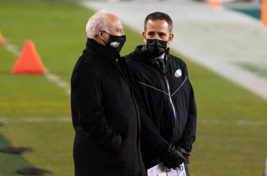Philadelphia Eagles owner Jeffrey Lurie (L) GM Howie Roseman (R) Mandatory Credit: Bill Streicher-USA TODAY Sports
