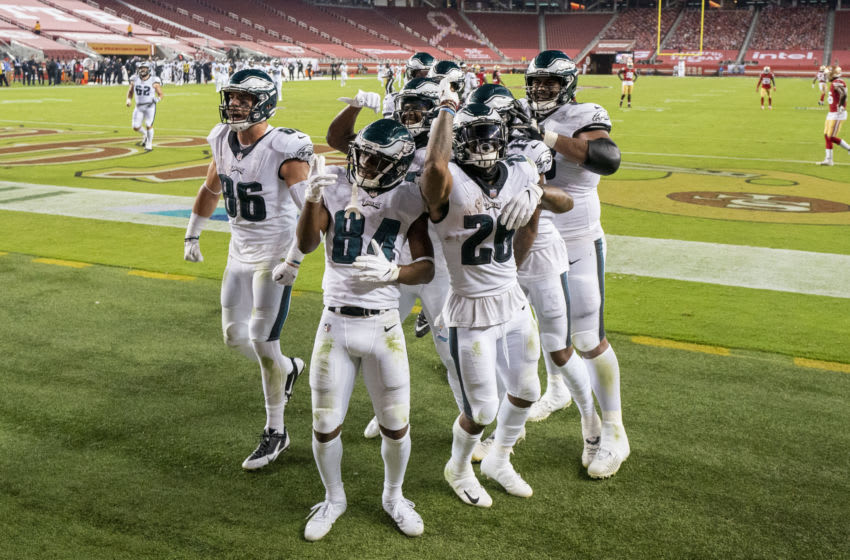 October 4, 2020; Santa Clara, California, USA; Philadelphia Eagles celebrate after wide receiver Travis Fulgham (13) scored a touchdown against the San Francisco 49ers during the fourth quarter at Levi's Stadium. Mandatory Credit: Kyle Terada-USA TODAY Sports