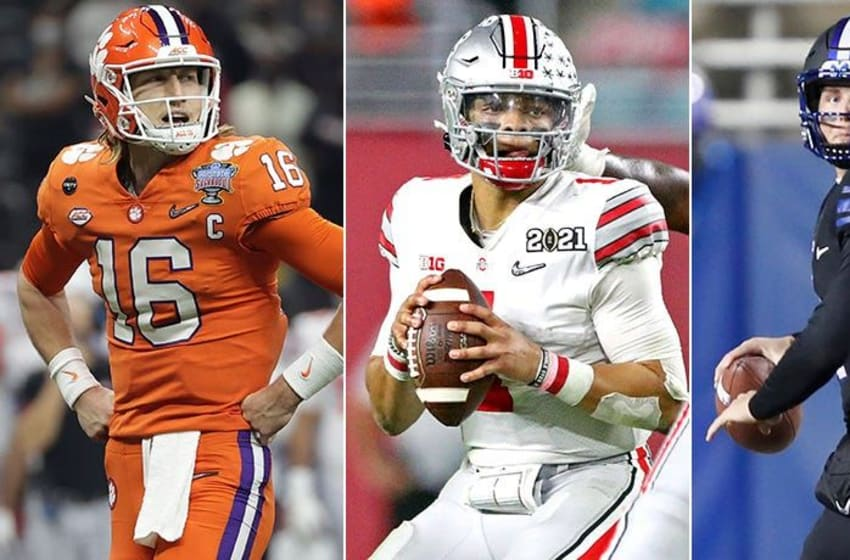Trevor Lawrence (from left), Justin Fields, Zach Wilson, (USA TODAY Sports Image Pool) Nflqbdraft