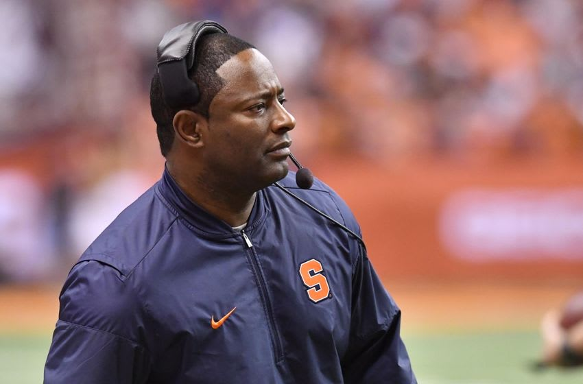 Nov 19, 2016; Syracuse, NY, USA; Syracuse Orange head coach Dino Babers on the sideline during the third quarter of a game against the Florida State Seminoles at the Carrier Dome. Florida State won 45-14. Mandatory Credit: Mark Konezny-USA TODAY Sports