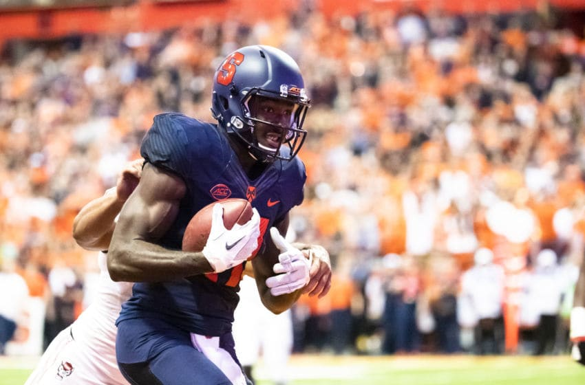 SYRACUSE, NY - OCTOBER 27: Jamal Custis #17 of the Syracuse Orange makes a touchdown reception during the first quarter against the North Carolina State Wolfpack at the Carrier Dome on October 27, 2018 in Syracuse, New York. (Photo by Brett Carlsen/Getty Images)