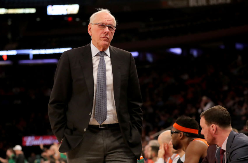 NEW YORK, NEW YORK - NOVEMBER 16: Head coach Jim Boeheim of the Syracuse Orange walks in front of his bench in the second half against the Oregon Ducks during the 2K Empire Classic at Madison Square Garden on November 16, 2018 in New York City.The Oregon Ducks defeated the Syracuse Orange 80-65. (Photo by Elsa/Getty Images)