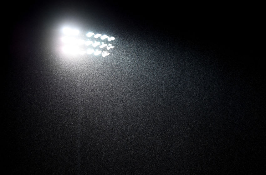 BRISTOL, ENGLAND - MARCH 05: A general view of a floodlight in the rain during the Checkatrade Trophy Semi Final match between Bristol Rovers and Sunderland at Memorial Stadium on March 5, 2019 in Bristol, England. (Photo by Alex Davidson/Getty Images)***Local Caption***
