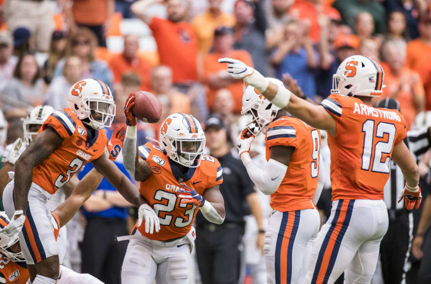 SYRACUSE, NY - SEPTEMBER 21: Abdul Adams #23 of the Syracuse Orange celebrates recovering a punt fumbled by Damari Roberson #12 of the Western Michigan Broncos during the first quarter at the Carrier Dome on September 21, 2019 in Syracuse, New York. (Photo by Brett Carlsen/Getty Images)
