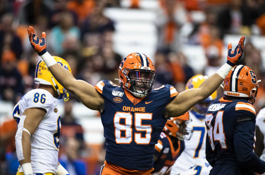 SYRACUSE, NY - OCTOBER 18: Josh Black #85 of the Syracuse Orange celebrates a tackle against Kenny Pickett #8 of the Pittsburgh Panthers during the first quarter at the Carrier Dome on October 18, 2019 in Syracuse, New York. (Photo by Brett Carlsen/Getty Images)