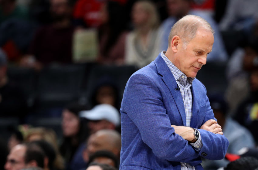 WASHINGTON, DC - NOVEMBER 08: Head coach John Beilein of the Cleveland Cavaliers looks on against the Washington Wizards in the second half at Capital One Arena on November 08, 2019 in Washington, DC. NOTE TO USER: User expressly acknowledges and agrees that, by downloading and/or using this photograph, user is consenting to the terms and conditions of the Getty Images License Agreement. (Photo by Rob Carr/Getty Images)