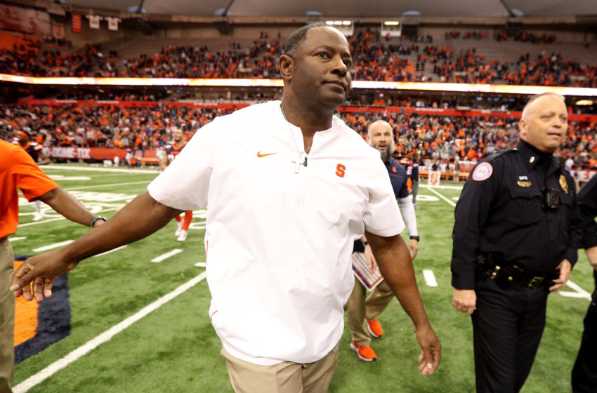 SYRACUSE, NEW YORK - NOVEMBER 30: Head Coach Dino Babers of the Syracuse Orange walks off the field after an NCAA football game against the Wake Forest Demon Deacons at the Carrier Dome on November 30, 2019 in Syracuse, New York. (Photo by Bryan M. Bennett/Getty Images)