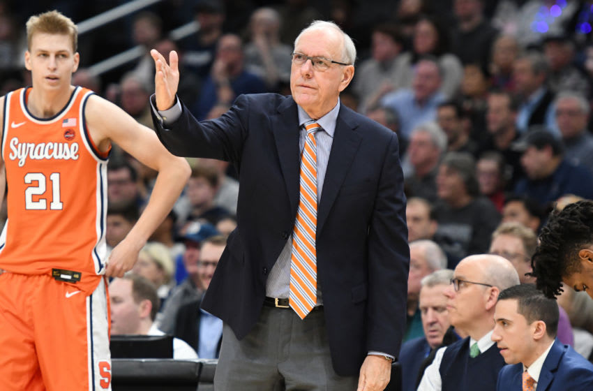 WASHINGTON, DC - DECEMBER 14: Head coach Jim Boeheim of the Syracuse Orange reacts to a call during a college basketball game against the Georgetown Hoyas at the Capital One Arena on December 14, 2019 in Washington, DC. (Photo by Mitchell Layton/Getty Images)